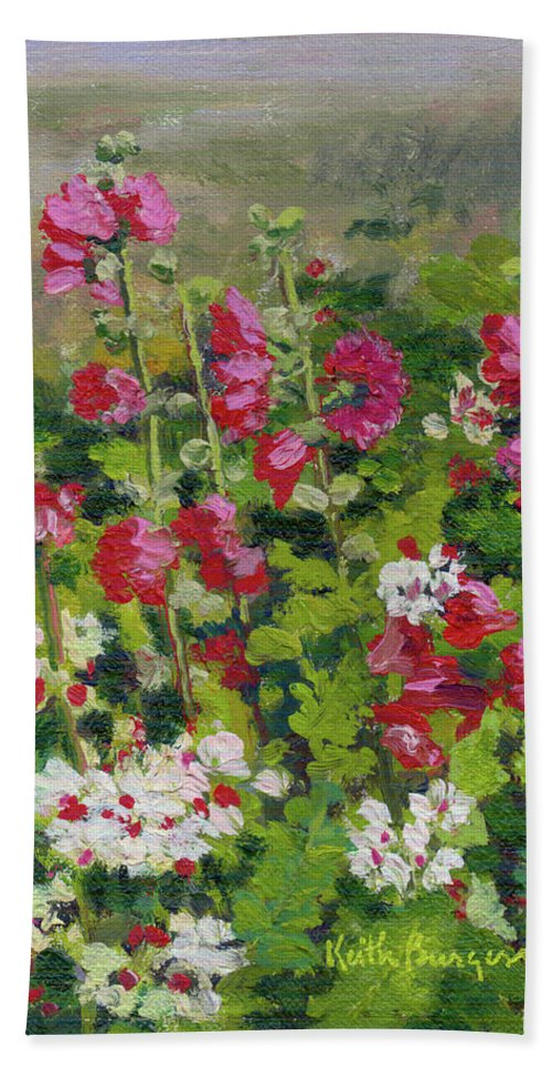 Impressionism Bath Sheet featuring the painting Wildflowers by Keith Burgess