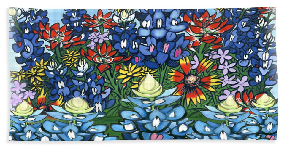 Wildflowers Hand Towel featuring the digital art Wildflowers by Kevin Middleton