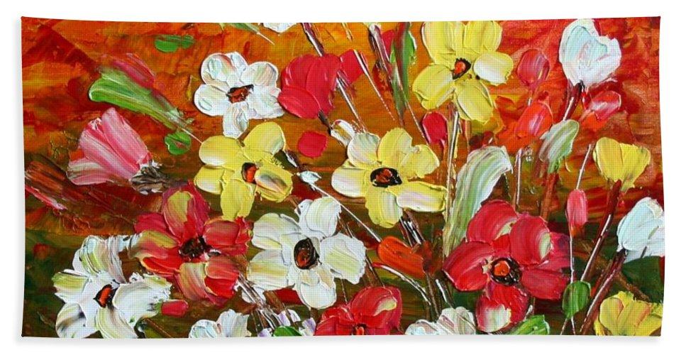 Flowers Bath Towel featuring the painting Wildflowers by Luiza Vizoli