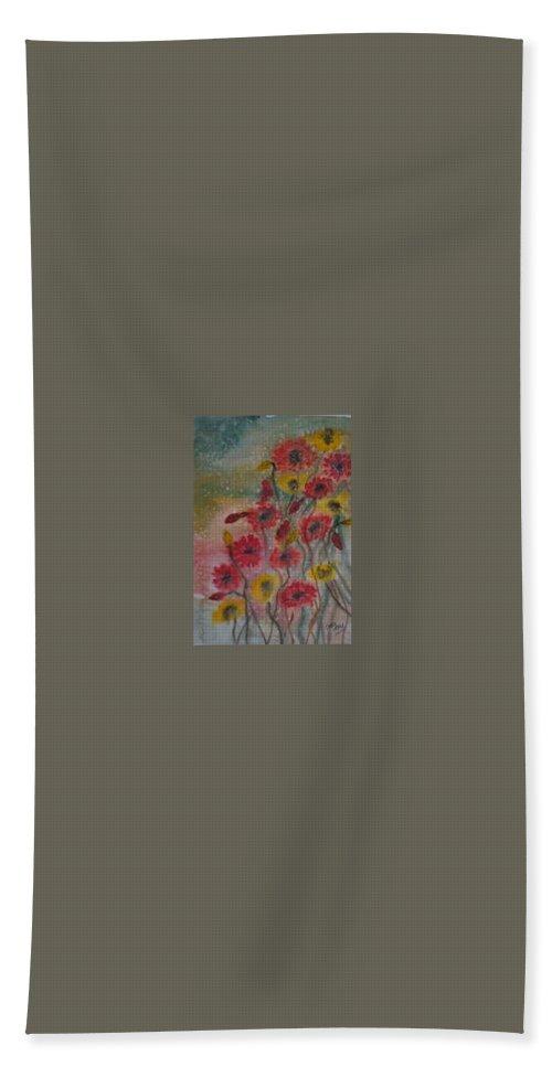 Watercolor Bath Sheet featuring the painting WILDFLOWERS still life modern print by Derek Mccrea