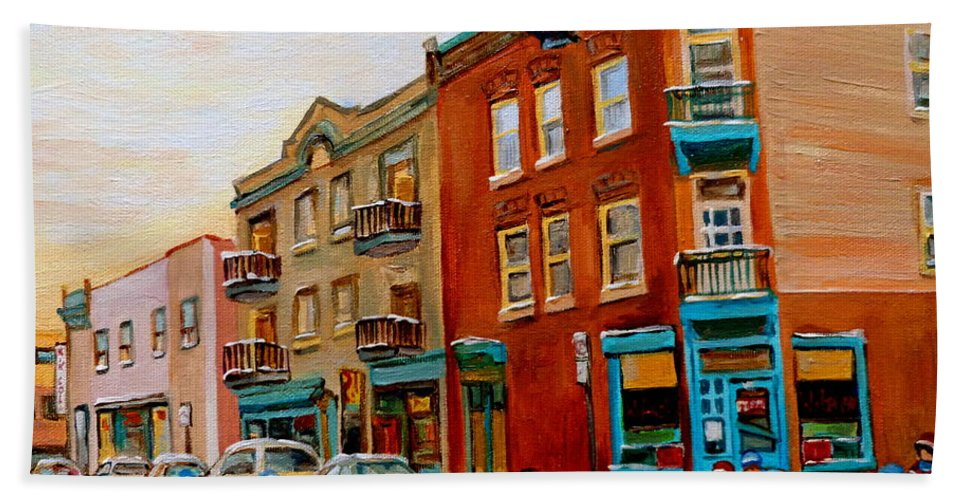 Wilenskys Deli Bath Towel featuring the painting Wilensky's Street Hockey Game by Carole Spandau