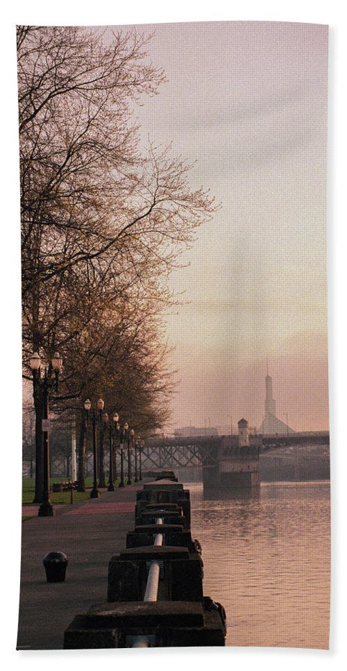 Oregon Hand Towel featuring the photograph Willamette Riverfront, Portland, Oregon by Frank DiMarco