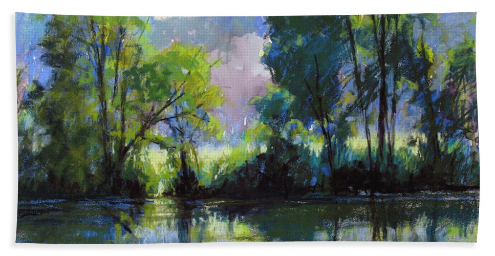 Landscape Hand Towel featuring the painting Willeo Park Misty by Marsha Savage