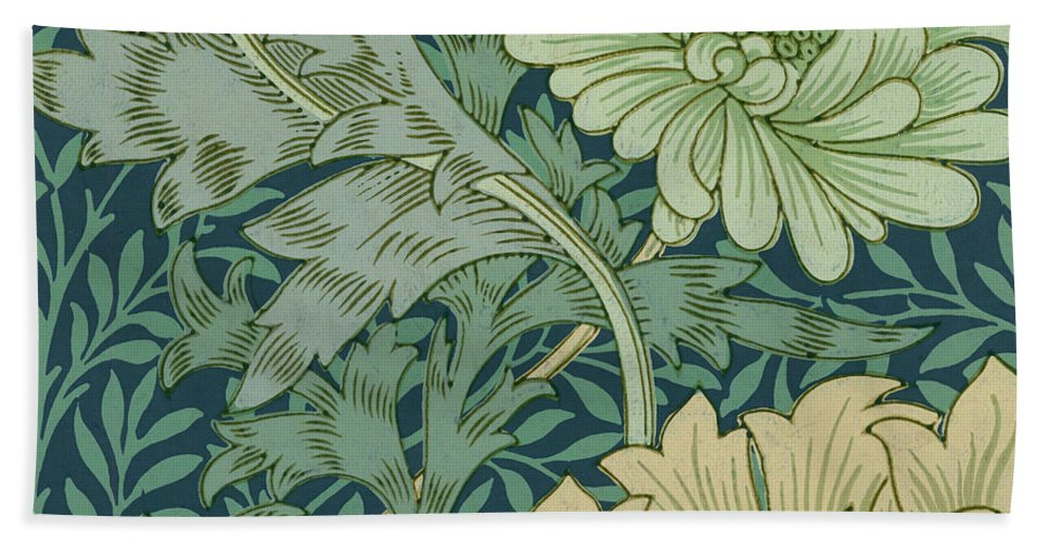 William Morris Wallpaper Sample With Chrysanthemum Bath Towel