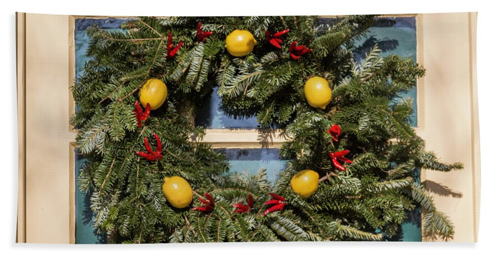 2015 Bath Towel featuring the photograph Williamsburg Wreath 37 by Teresa Mucha