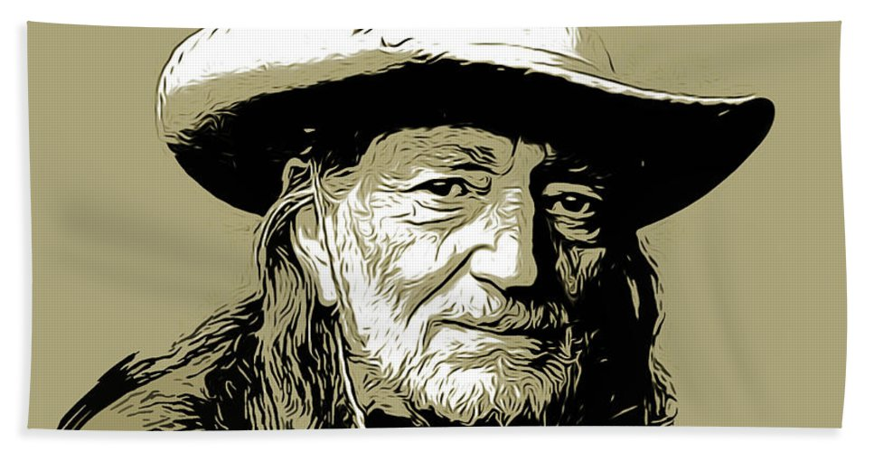 Willie Nelson Hand Towel featuring the drawing Willie 2 by Greg Joens