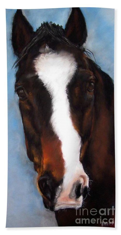 Horse Painting Hand Towel featuring the painting Willie Duke by Frances Marino