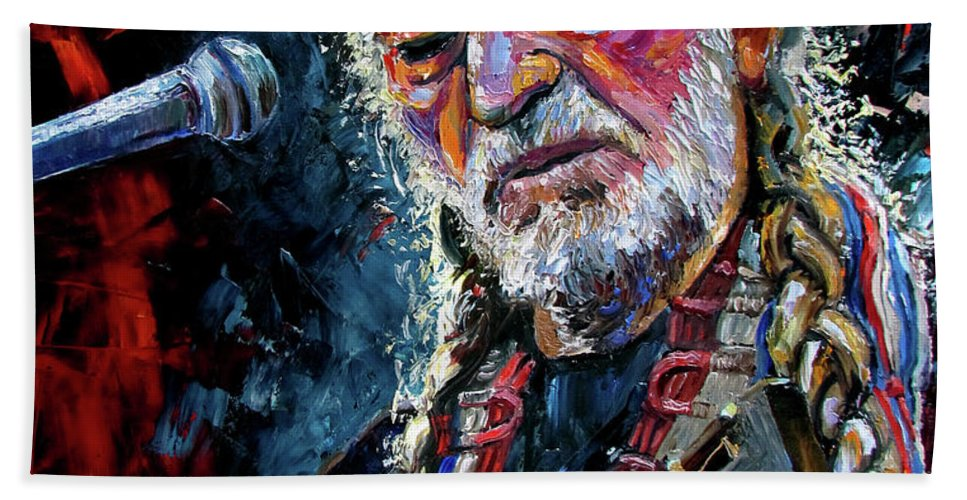 Booger Red Bath Sheet featuring the painting Willie Nelson Portrait by Debra Hurd