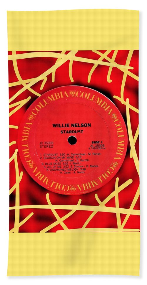 Willie Nelson Hand Towel featuring the digital art Willie Nelson Stardust Lp Label by Doug Siegel