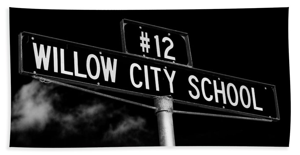 School Hand Towel featuring the photograph Willow City School Sign by Stephen Stookey