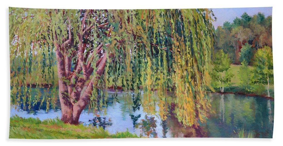 Impressionism Bath Sheet featuring the painting Willow by Keith Burgess