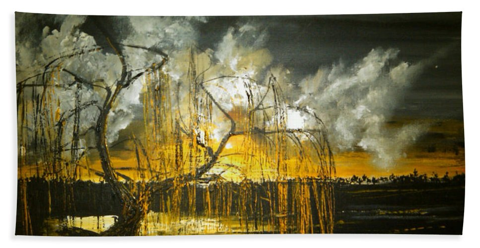 Landscape Hand Towel featuring the painting Willow On The Shore by Stefan Duncan