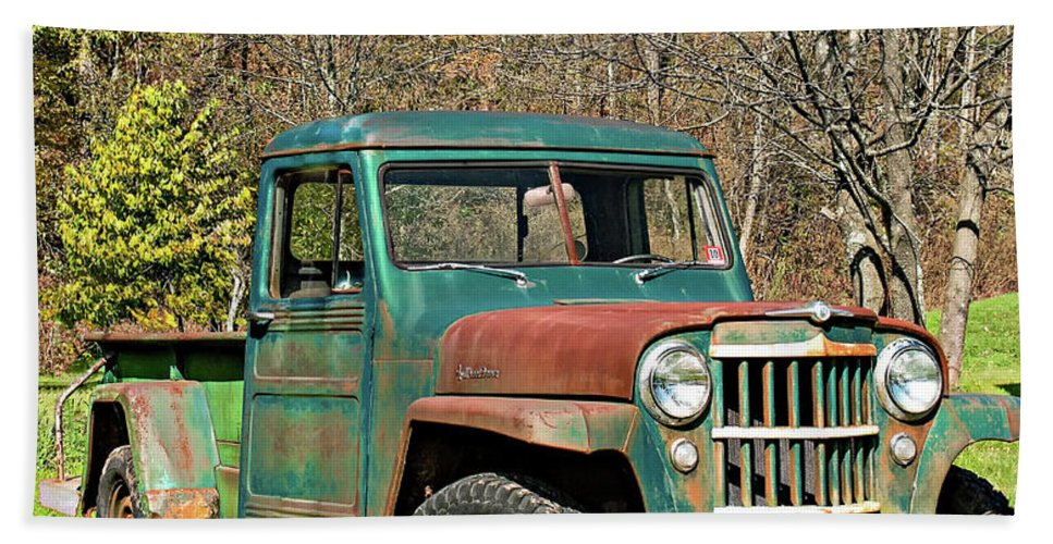 Vehicle Bath Sheet featuring the photograph Willys Jeep Pickup Truck by Steve Harrington