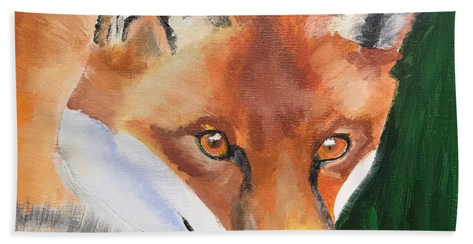 Fox Bath Sheet featuring the painting Wily Fox by Kathi Schwan