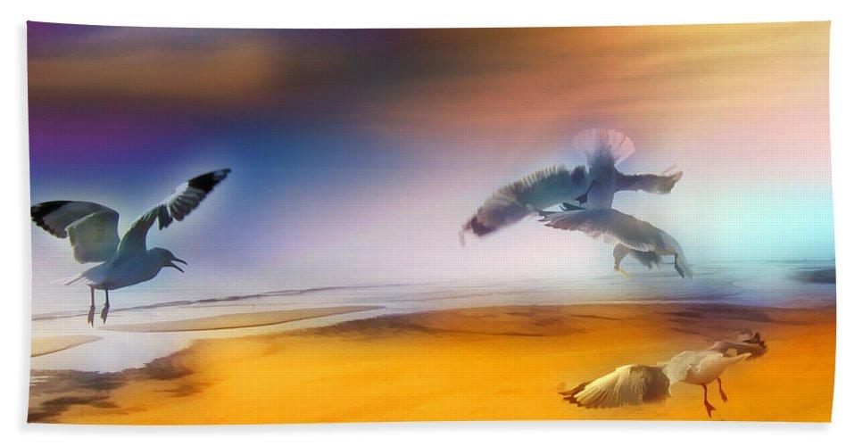 Seagulls Bath Sheet featuring the photograph Wind Drifters by Douglas Barnard