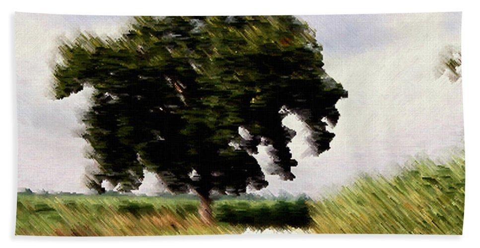 Breeze Bath Sheet featuring the digital art Wind Motif Old Dam Road by RC DeWinter