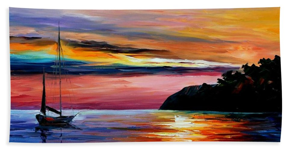 Afremov Bath Sheet featuring the painting Wind Of Hope by Leonid Afremov