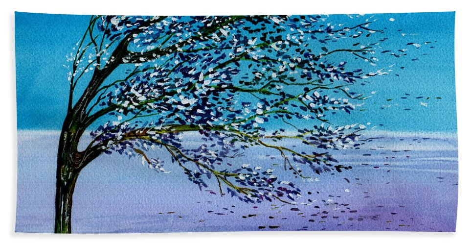 Watercolor Hand Towel featuring the painting Windblown by Brenda Owen