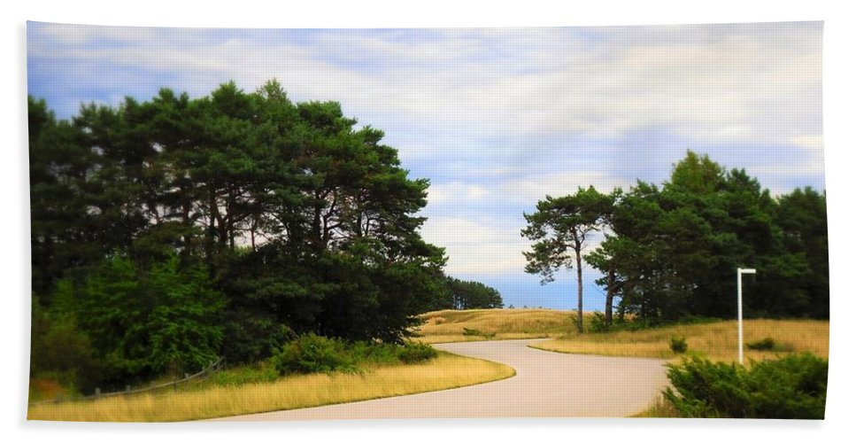 Road Bath Sheet featuring the photograph Winding Road Into The Unknown by Lorraine Price