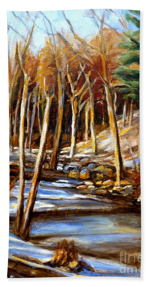 Windiing Stream Hand Towel featuring the painting Winding Stream by Carole Spandau