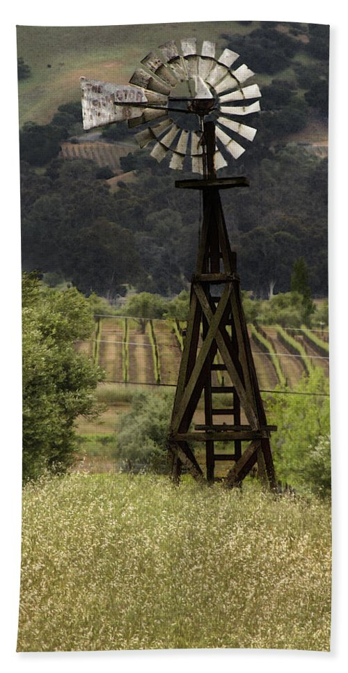 Landscape Bath Towel featuring the photograph Windmill And Vineyards by Karen W Meyer