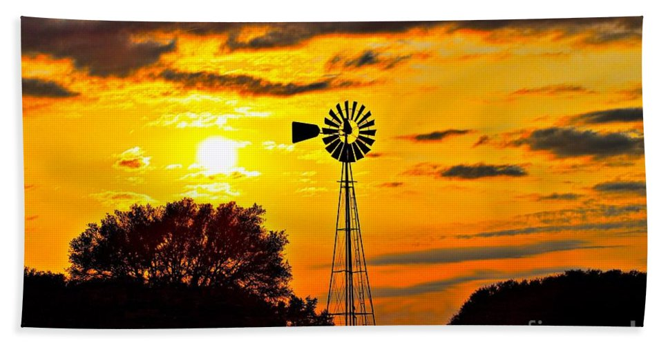Windmill Bath Sheet featuring the photograph Windmill In Texas Sunset by Jeanie Mann