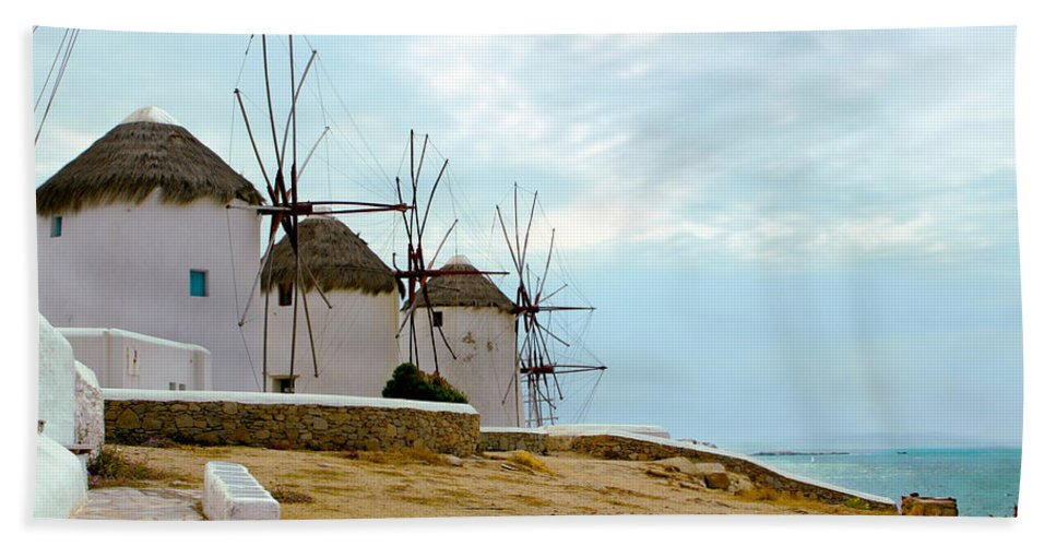 Mykonos Bath Sheet featuring the photograph Windmills Of Mykonos I by Madeline Ellis