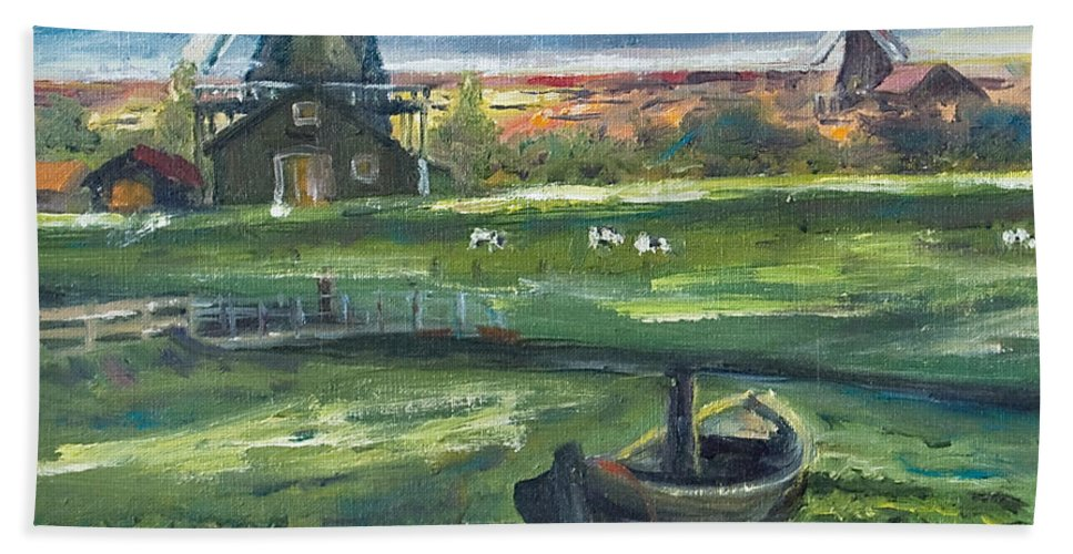 Water Bath Towel featuring the painting Windmills by Rick Nederlof