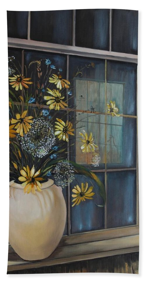 Wild Flowers Bath Towel featuring the painting Window Dressing - Lmj by Ruth Kamenev