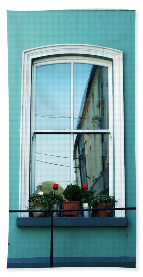 Irish Bath Sheet featuring the photograph Window In Ennistymon Ireland by Teresa Mucha