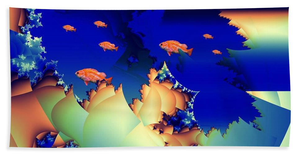 Undersea Hand Towel featuring the digital art Window On The Undersea by Ron Bissett