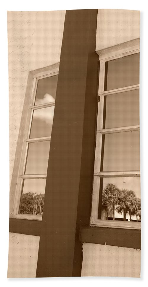 Sepia Hand Towel featuring the photograph Window T Glass by Rob Hans