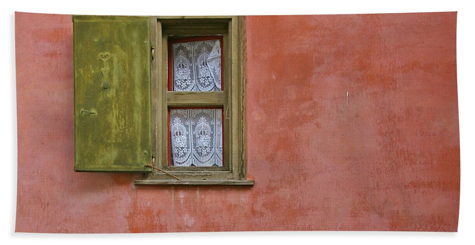 Window Hand Towel featuring the photograph Window With A Lace Curtain by Tom Reynen