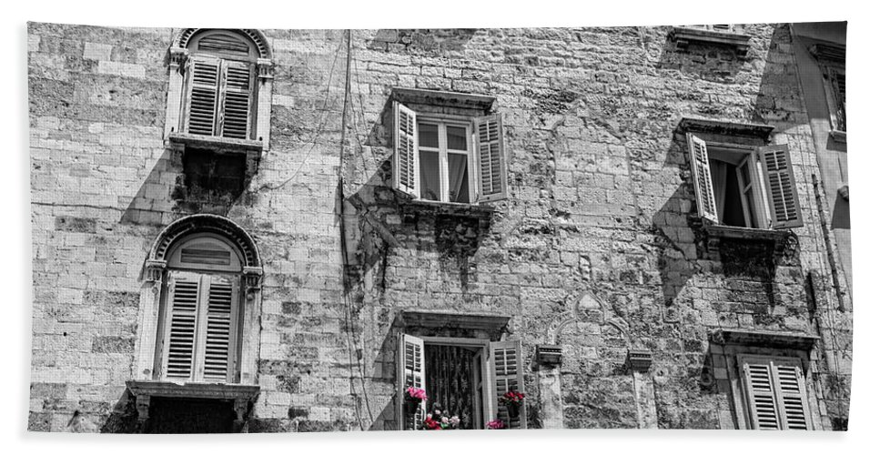 Black And White Photography Bath Sheet featuring the photograph Windows by Brent Kaire