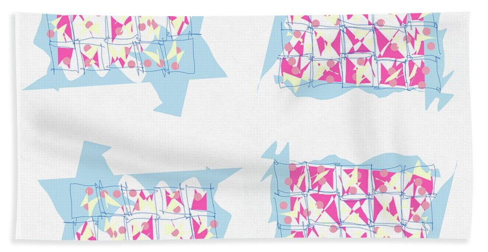 Abstract Hand Towel featuring the digital art Windows by Mary Jo Hopton