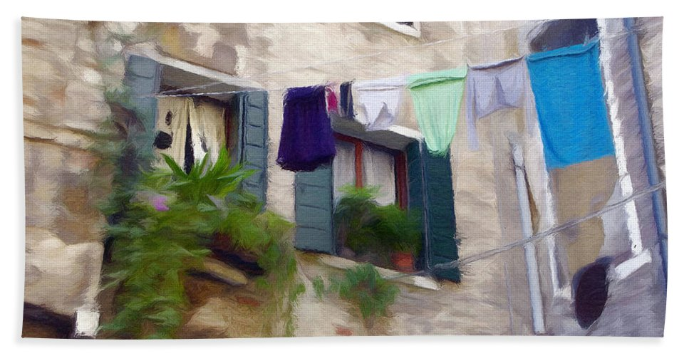 Window Hand Towel featuring the painting Windows Of Venice by Jeffrey Kolker