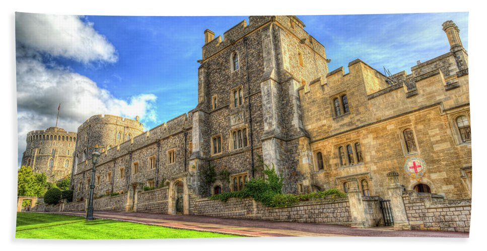 Windsor Castle Hand Towel featuring the photograph Windsor Castle Architecture by David Pyatt