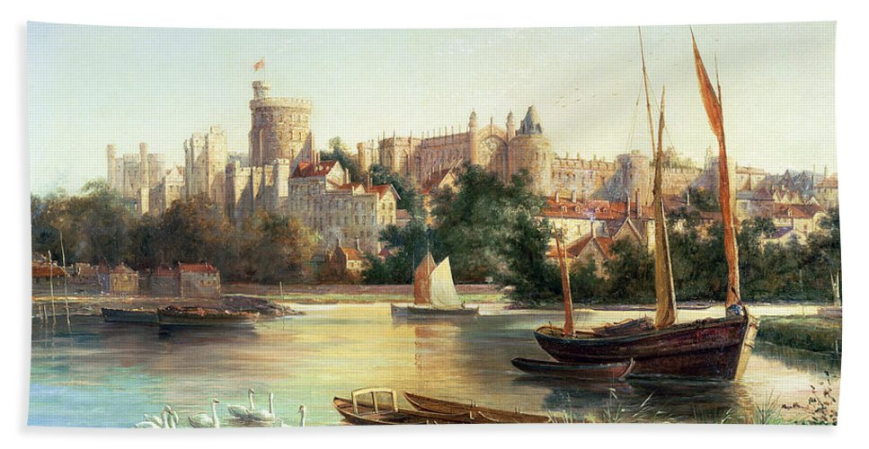 Windsor Bath Sheet featuring the painting Windsor From The Thames  by Robert W Marshall
