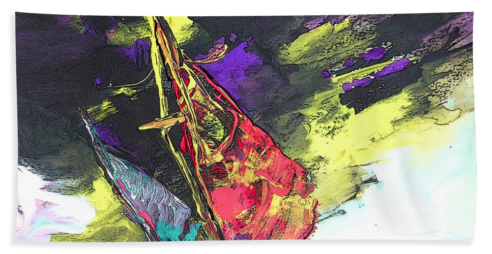 Acrylics Bath Sheet featuring the painting Windsurf Impression 01 by Miki De Goodaboom