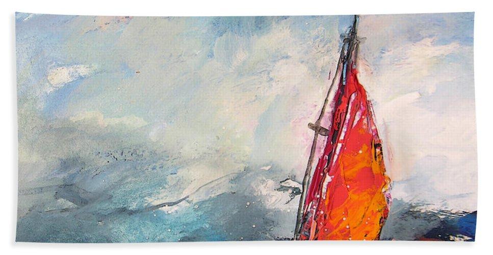 Windsurf Bath Sheet featuring the painting Windsurf Impression 04 by Miki De Goodaboom