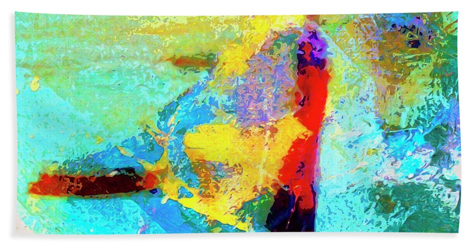 Abstract Hand Towel featuring the painting Windsurfing by Dominic Piperata