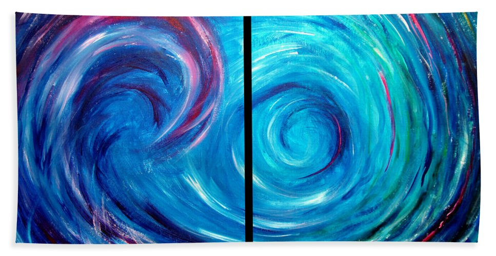 Blue Bath Towel featuring the painting Windswept Blue Wave And Whirlpool 2 by Nancy Mueller