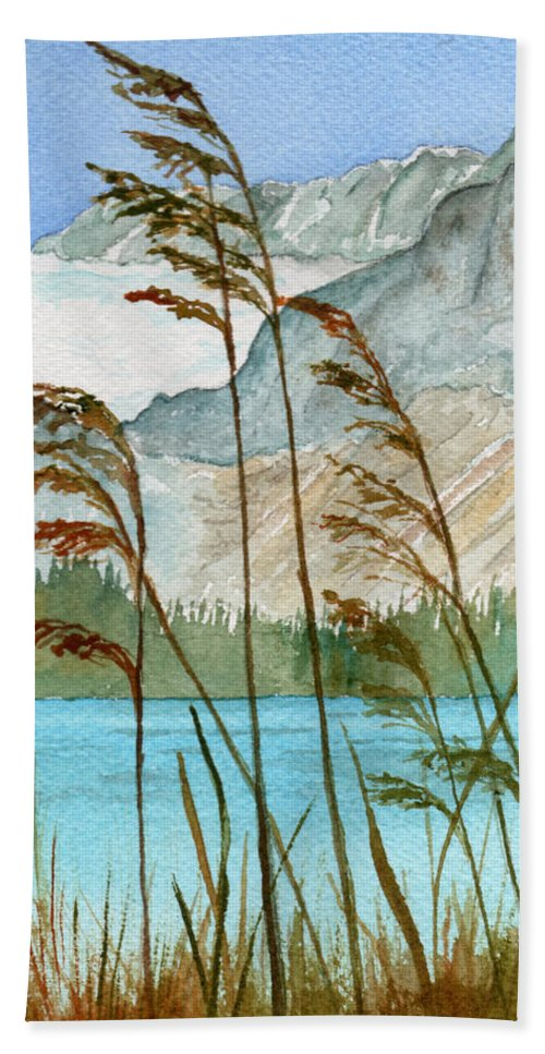 Landscape Bath Towel featuring the painting Windswept by Brenda Owen