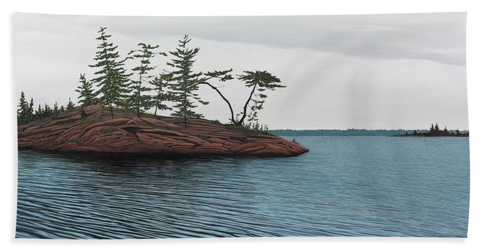 Island Hand Towel featuring the painting Windswept Island Georgian Bay by Kenneth M Kirsch