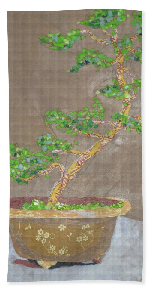 Banzai Tree Bath Towel featuring the painting Windswept Juniper by Leah Tomaino