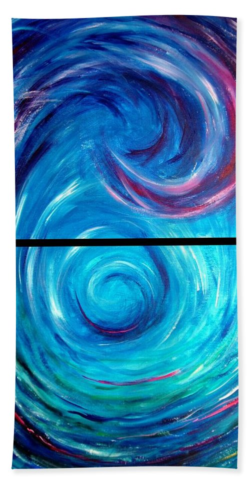 Blue Bath Towel featuring the painting Windwept Blue Wave And Whirlpool Diptych 1 by Nancy Mueller
