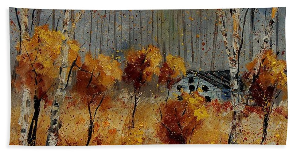 Tree Bath Sheet featuring the painting Windy Autumn Landscape by Pol Ledent