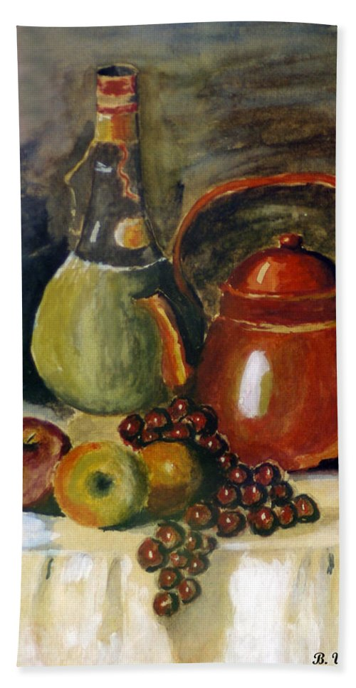 2d Hand Towel featuring the painting Wine And Fruit by Brian Wallace