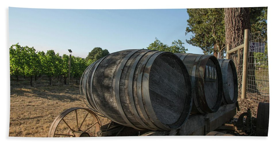 Sebastopol Hand Towel featuring the photograph Wine Barrels At Vineyard by Nicole Freedman