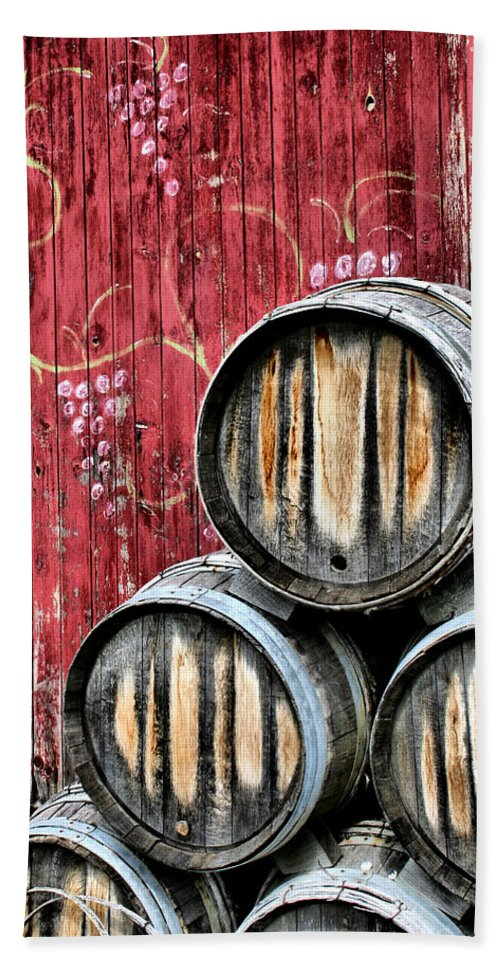 Wine Hand Towel featuring the photograph Wine Barrels by Doug Hockman Photography